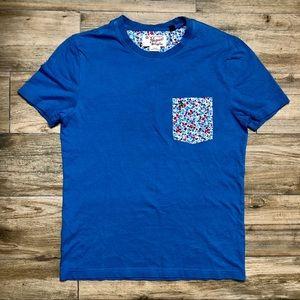 Original Penguin blue with Flowers Pocket shirt